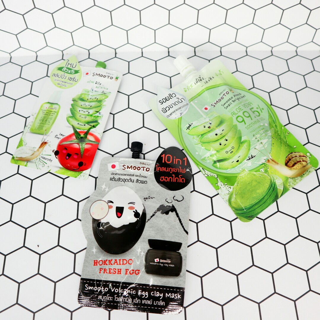 💀 Paket Skin Care Smooto: Tomato Aloe Snail White & Acne Sleeping Serum, Volcanic Egg Clay Mask, Aloe-E Snail Bright Gel, Health & Beauty, Skin, Bath, ...