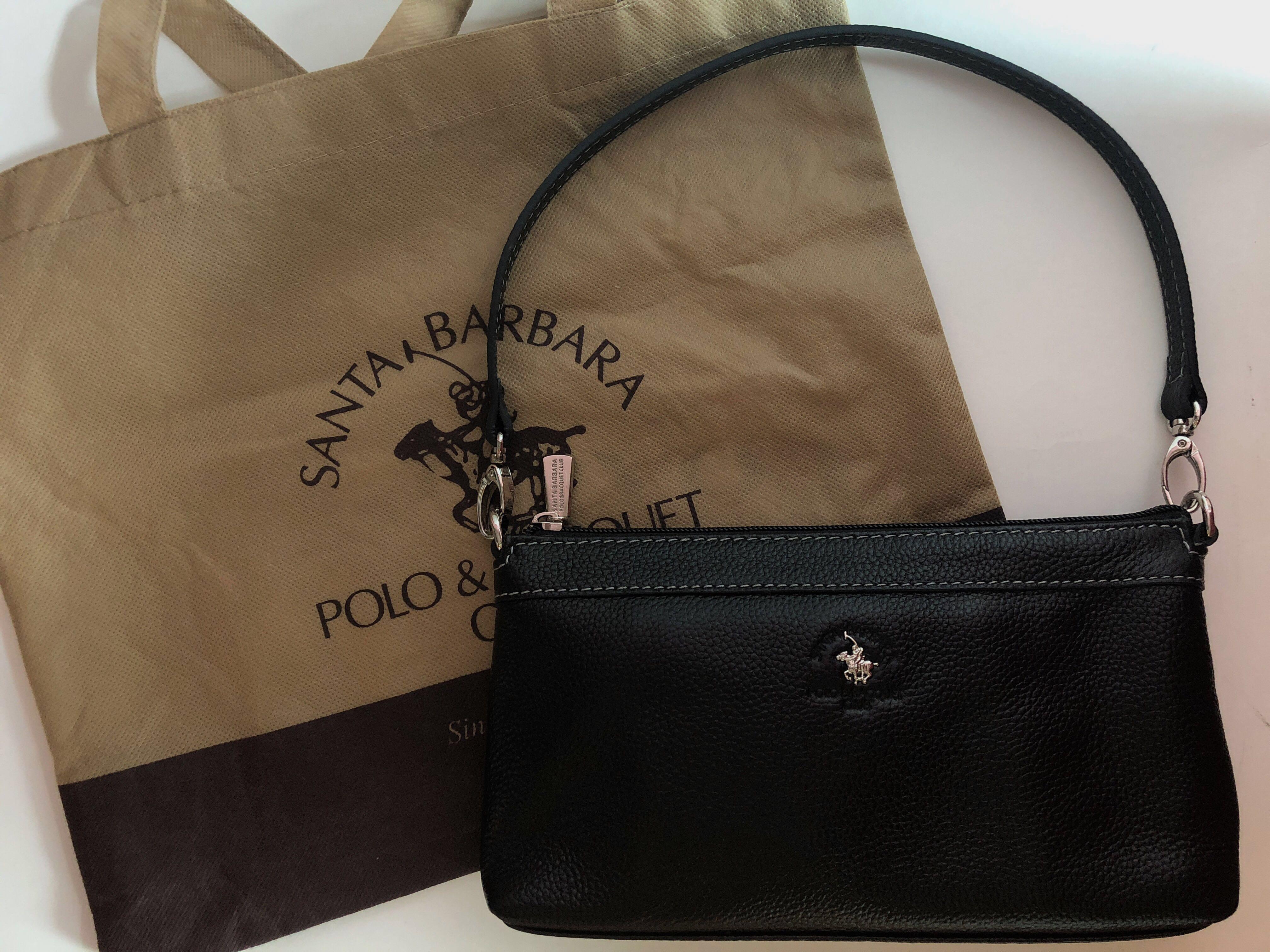 b5319699d1 👜 Santa Barbara Polo   Racquet Club Black Leather Handbag Authentic ...