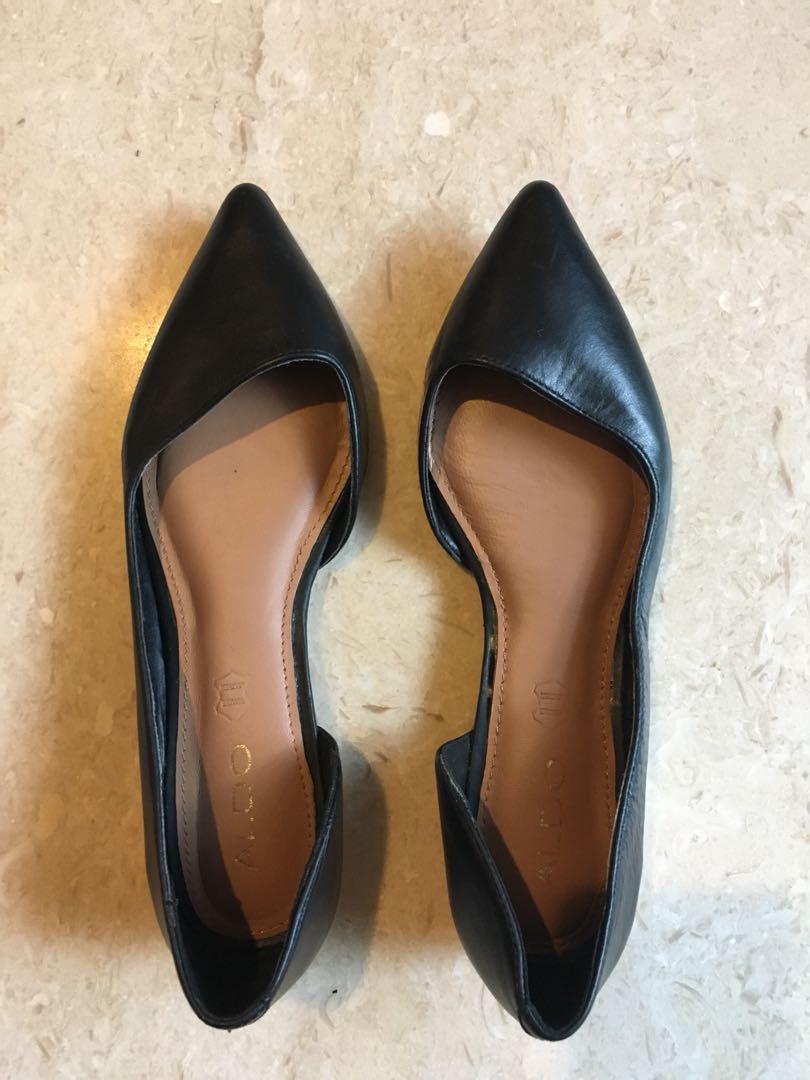 ALDO Black leather pointed flats, Women