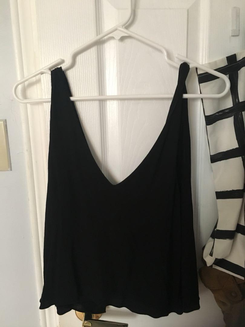 Aritzia Wilfred black tank with open back