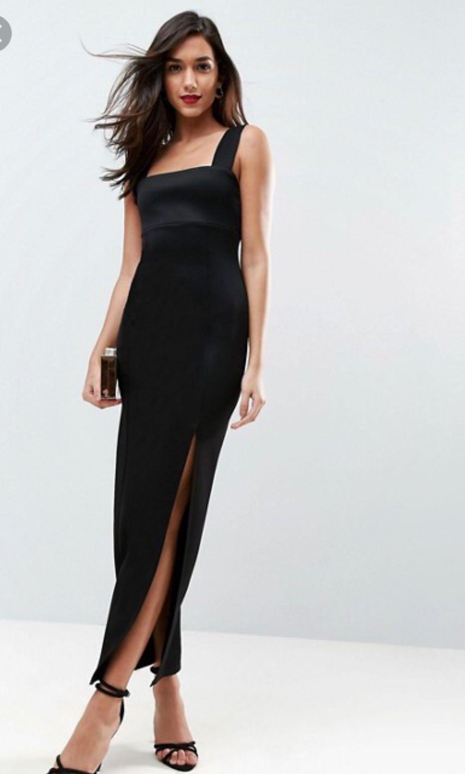 84114e3a335 Asos black square neck maxi dress with thigh slit