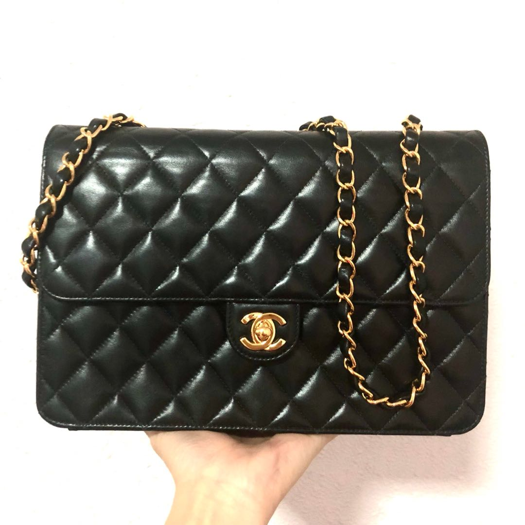2f0d8c72f97a Authentic Chanel Classic Modern-Vintage Fusion Flap Bag with 24k ...