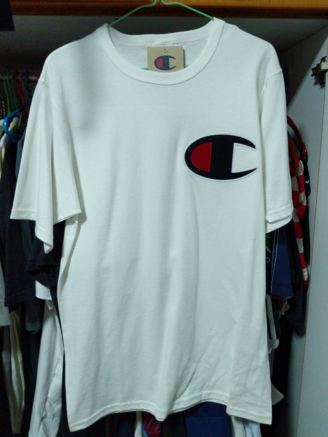 1b79be00 Champion Heritage Big C Patch White T-Shirt, Men's Fashion, Clothes, Tops  on Carousell