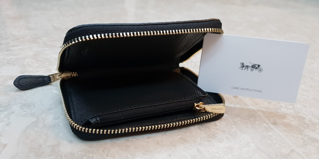 a59d1bf02fe3 COACH F24808 Black Pebbled Leather Small Zip Around Wallet in Black ...