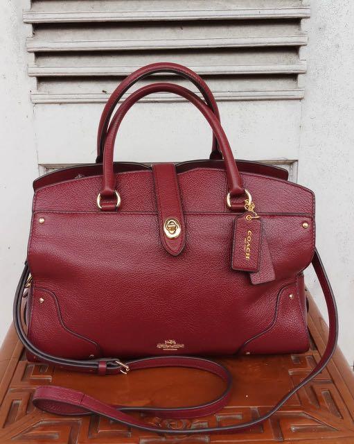 c9af73eae Coach Mercer Satchel 30 in Burgundy, Luxury, Bags & Wallets, Handbags on  Carousell