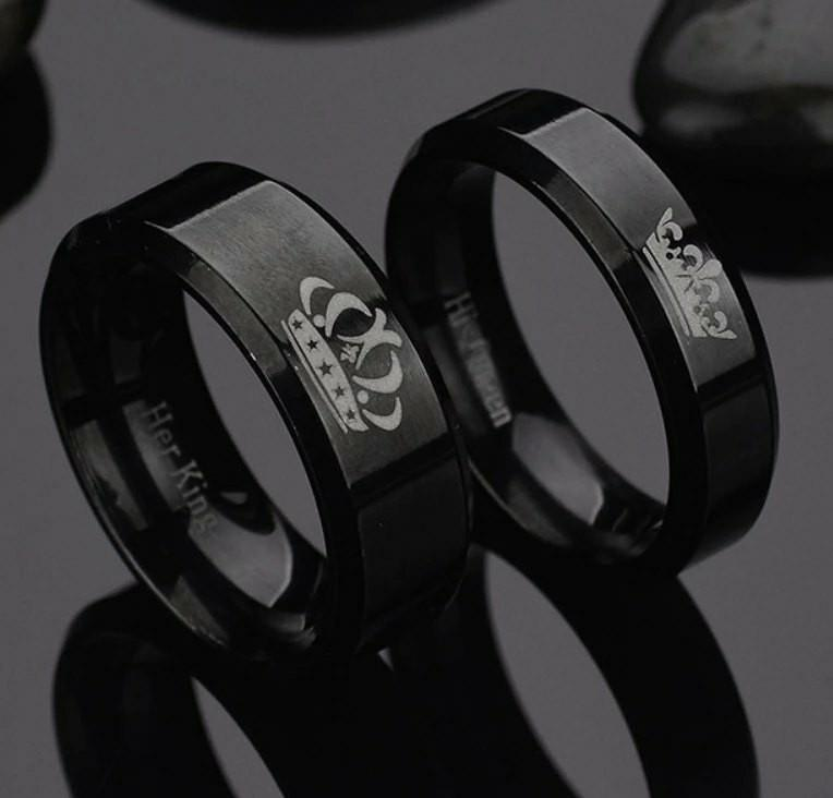 Couple Ring black crown with engraving
