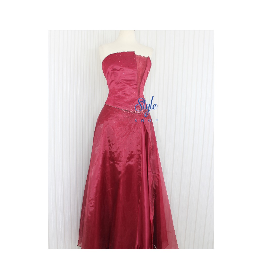 Gaun Pesta Gaun Malam Long Dress Warna Merah Maroon Olshop
