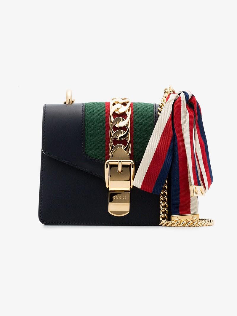 bc5e6b44f0cd Gucci Navy Sylvie Mini Leather Bag, Luxury, Bags & Wallets, Handbags ...