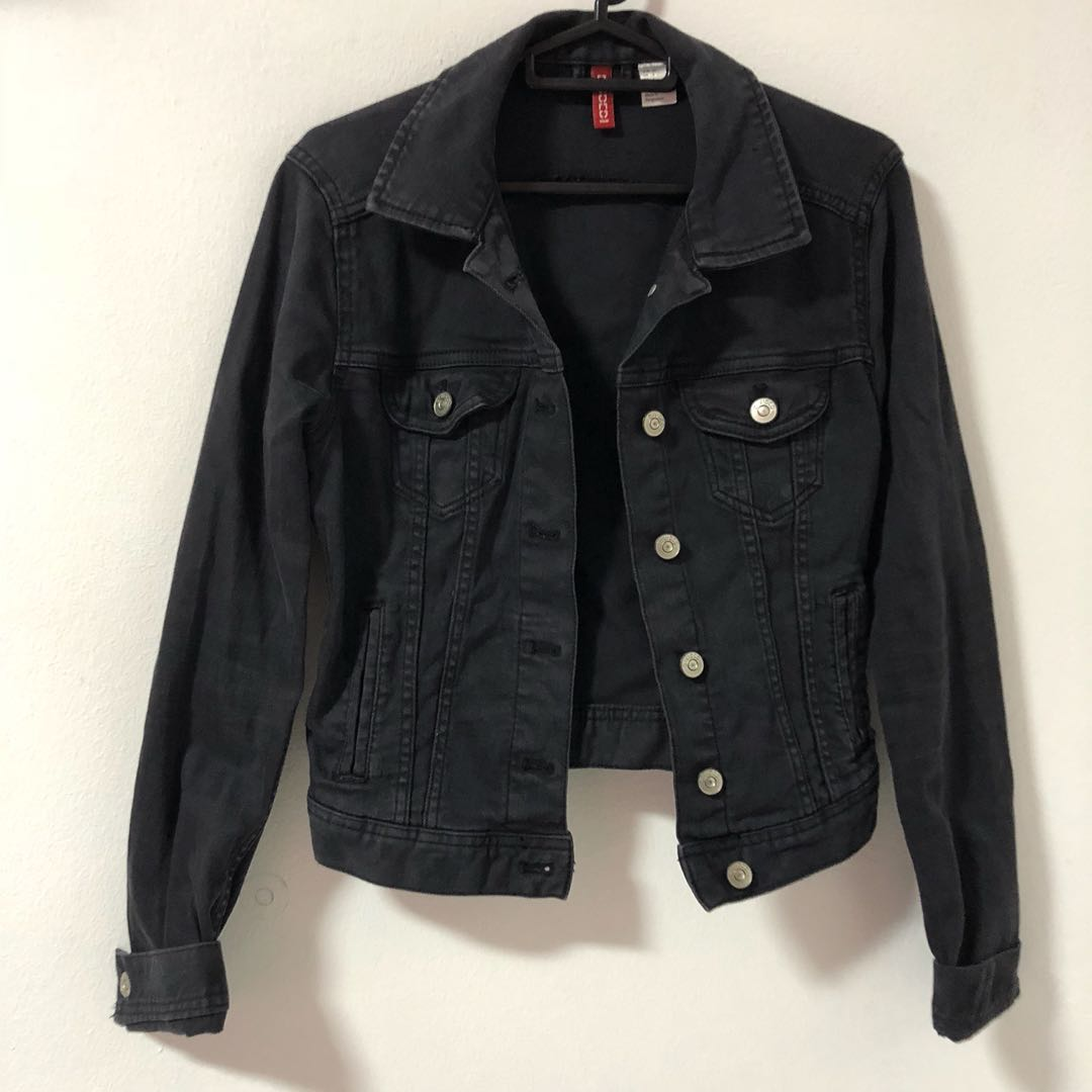 H M Black Denim Jacket Women S Fashion Clothes Outerwear On Carousell