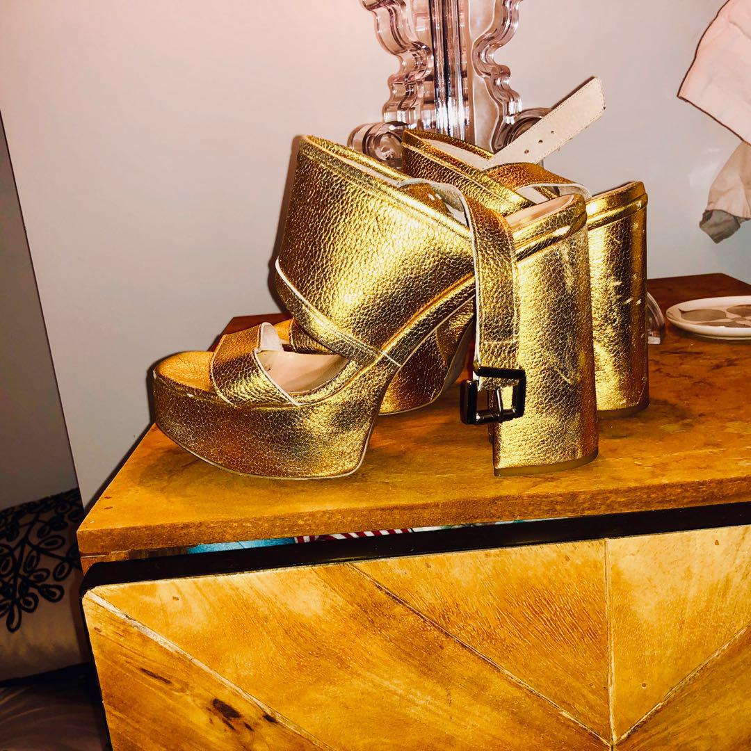 Made in Italy 🇮🇹 Edward Spiers platform gold heels shoes strappy