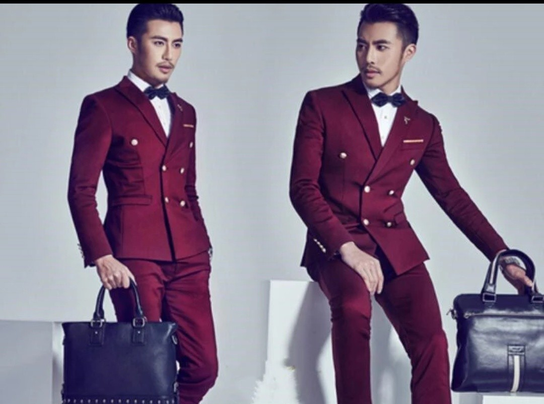 Men high quality red maroon suits 2pc wedding business, Men\'s ...