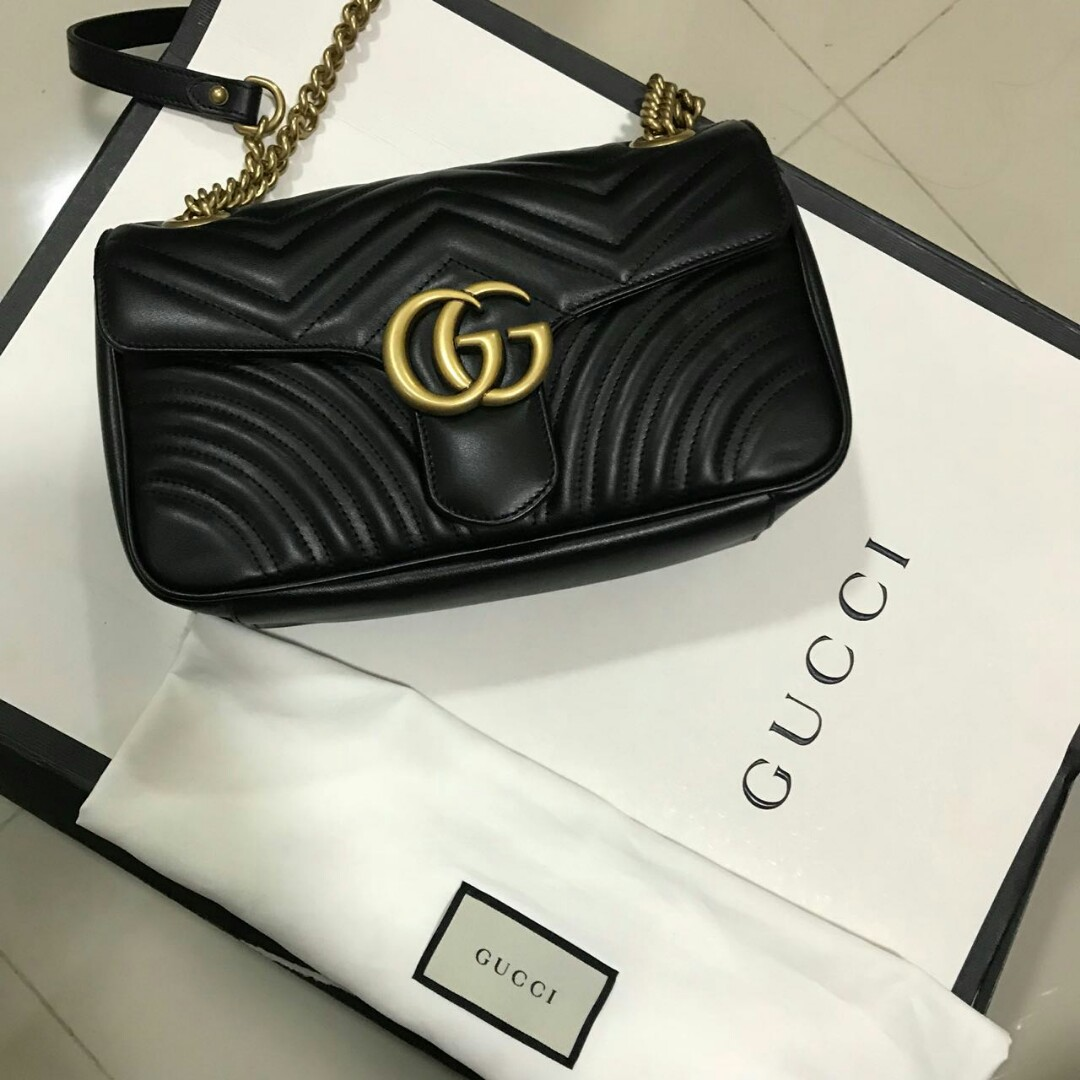 fdefe25b61b NEW !!! Fresh receipt july 2018 Gucci marmont 26 cm 2018 complete set box  receipt dustbag and paperbag only and receipt store