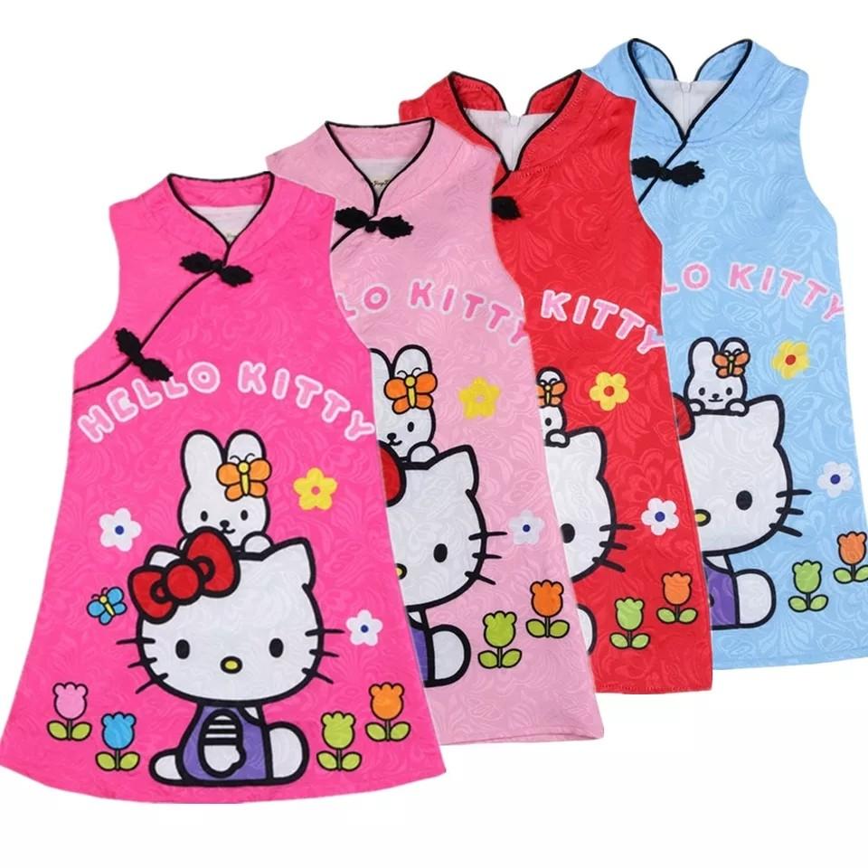 dbb89eb38 New Prom Dresses 2018 Summer hello kitty Girls Dress Cheongsam ...