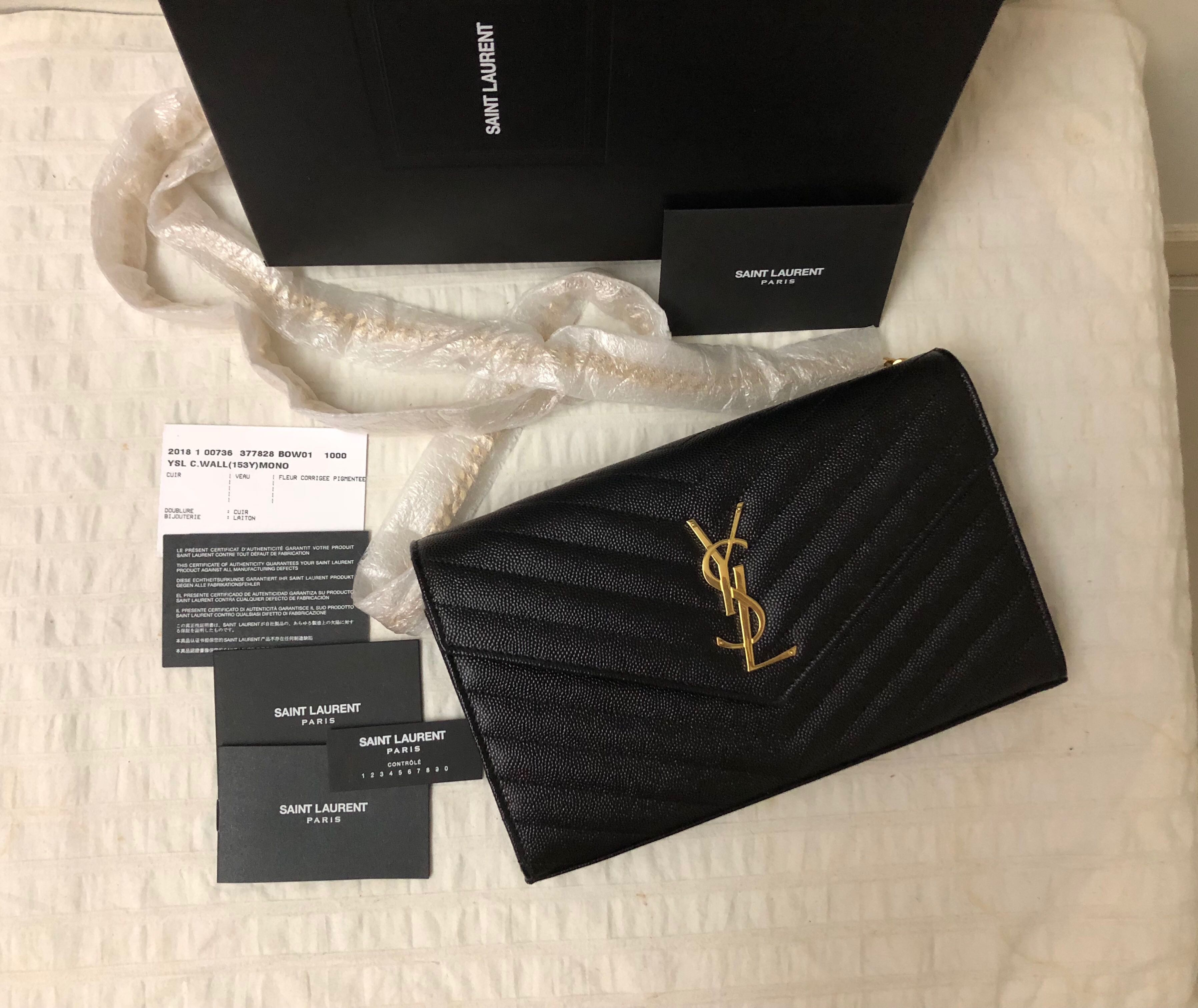 e8d2c0d4242 [New w Receipt] Authentic Large Saint Laurent YSL Wallet On Chain WOC GHW,  Luxury, Bags & Wallets, Handbags on Carousell