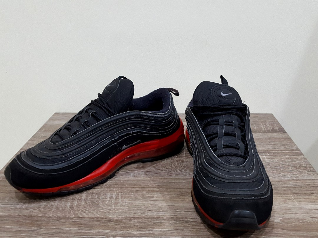 quality design 99f2d 07be2 NIKE AIR MAX 97 BLACK CHALLENGE RED SECOND (100% Original), Men s Fashion,  Men s Footwear on Carousell