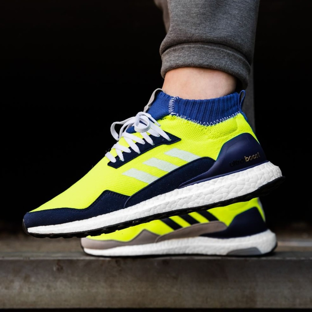 94a4fefa7 PO) Adidas Consortium x Proto Mens Ultra Boost Mid Yellow   Navy ...