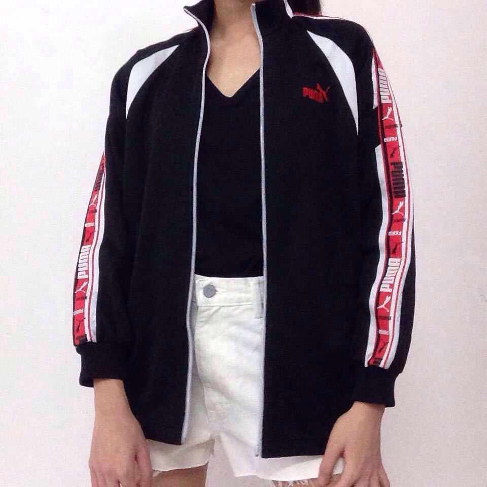 e030c124f092 Puma Bomber Jacket Red Side Tape Black White Sports Women