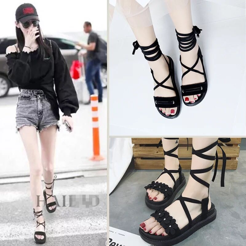 9423230e2 Strappy Platform thick flat Sandals fitflop flip flop slippers women ...
