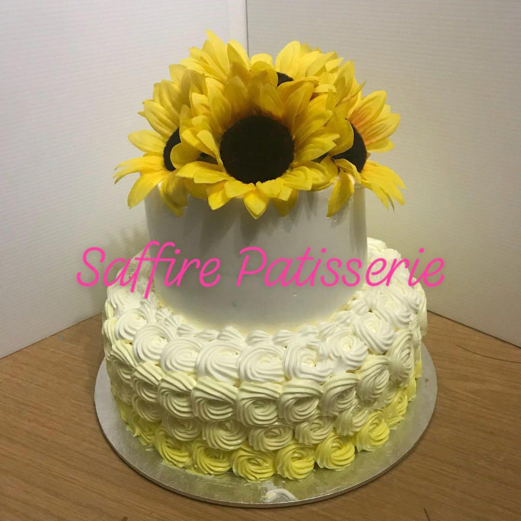 Stupendous Sunflower Floral Rosette Two Tier Cake Baby Shower Birthday Cake Funny Birthday Cards Online Necthendildamsfinfo