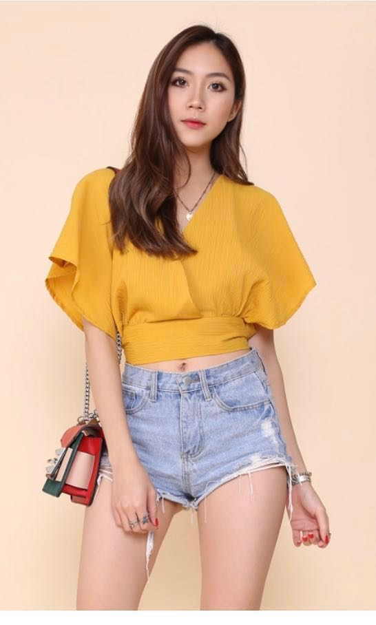 e7446e35e8c TJM Rosaleen mustard / yellow tie back crop top, Women's Fashion ...
