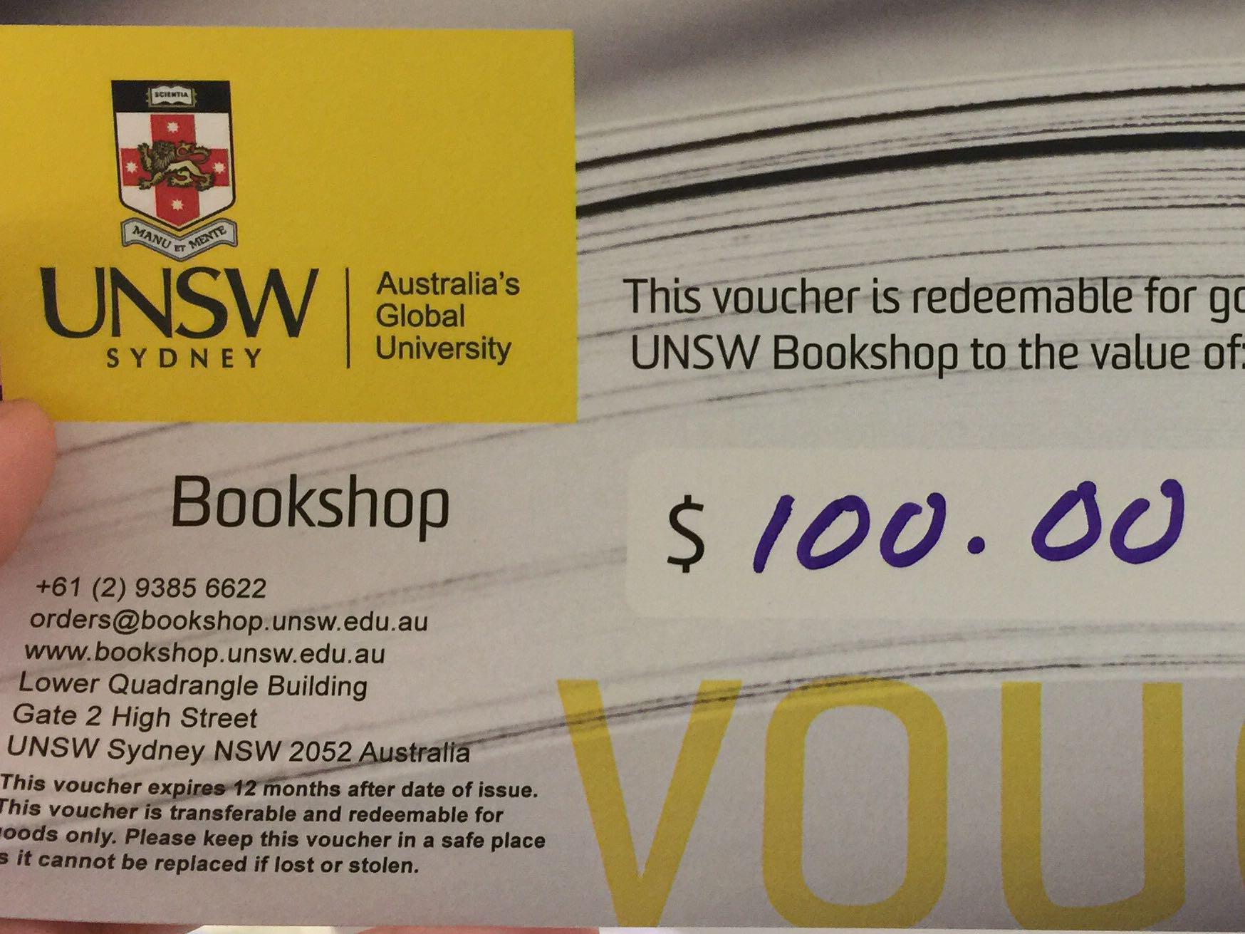 UNSW bookshop voucher, Tickets & Vouchers, Gift Cards & Vouchers on