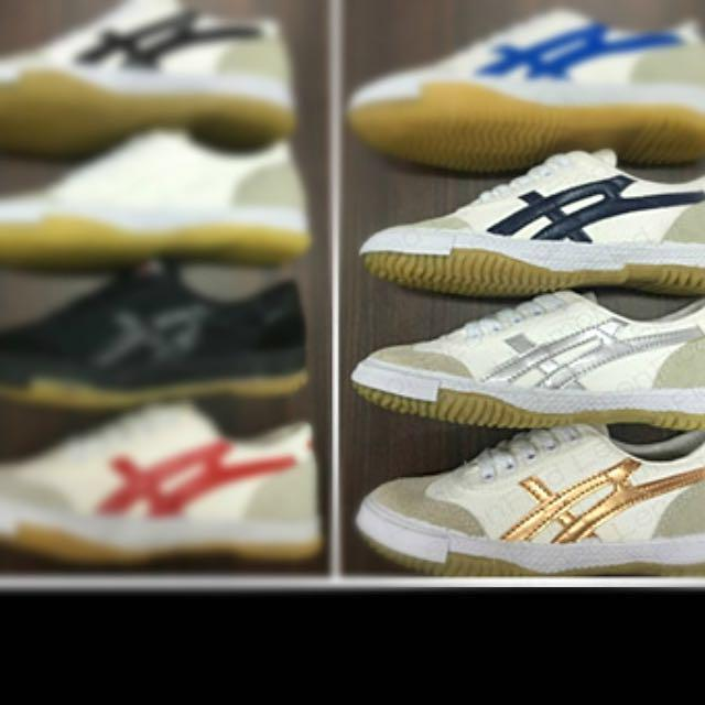 Warrior White Shoes With Gold Stripes