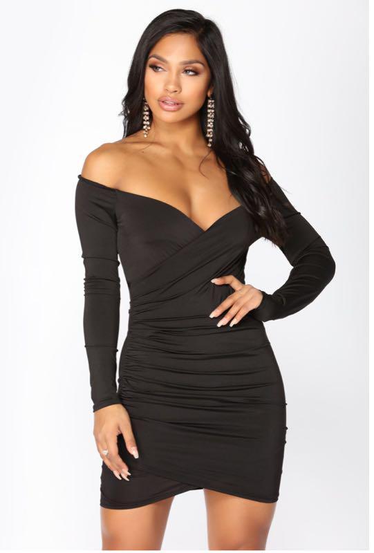 Wrap Bodycon Black Dress