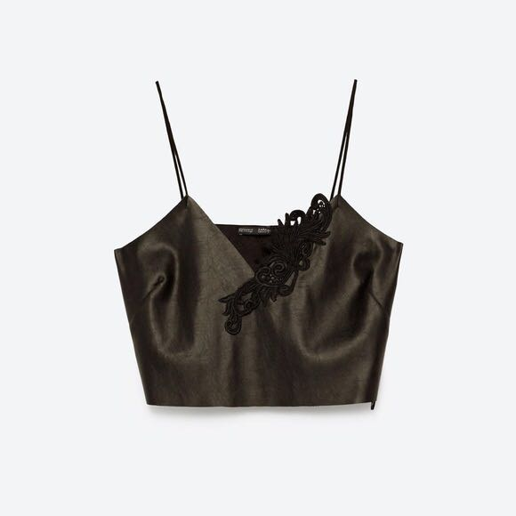 ead792355f1 Zara Leather Embroidered Cropped Top