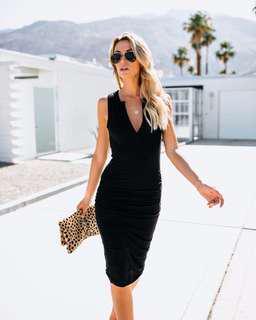 Solid V-neck Sleeveless Bodycon Dress