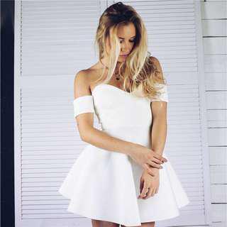 Off Shoulder High Waist Slim Backless Mini Dress