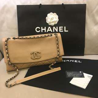 Chanel lambskin hobo bag 粉膚色銀鍊手提肩背包