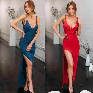 V neck Elegant Spaghetti Strap Maxi Dress