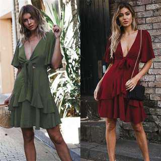 Solid V neck Slim Party Ruffle Dress