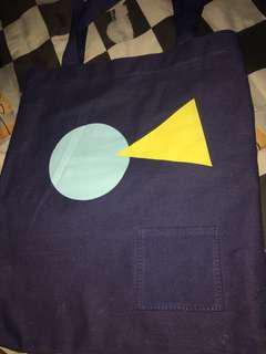 MINISO Tote Bag Geometry Navy