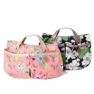 FUN 日雜~日牌PAUL & JOE 娘包 伴娘包 包中包-綠色(無掛飾)花朵 手提袋