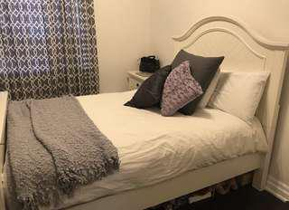 Double bed and night stand
