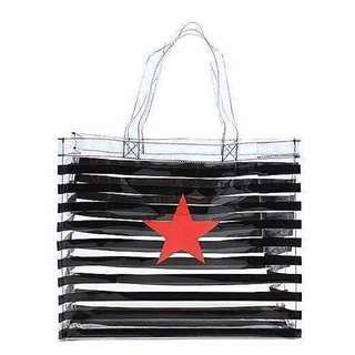 FUN 日雜~ 透明條紋 防水 托特包 海灘包 手提包 手提袋