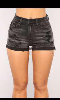 NEW Fashion Nova Black Denim Shorts - Size M