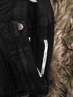 Zara leather black skinny leg jeans
