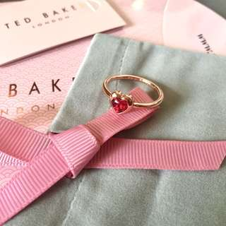 (NEW) Ted Baker Red Swarovski Crystal Heart Ring