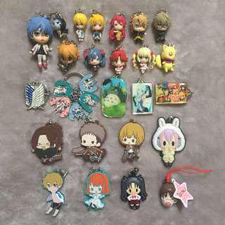Anime/Manga Character Keychains/Rubber straps/Mini Figures