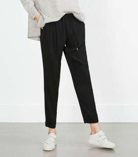 Zara Trousers Bundle: 1 Flowy Drawstring Trousers and 1Bottom Ruffled Trousers
