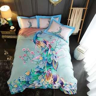🚚 4 pieces bedsheets set 100% cotton