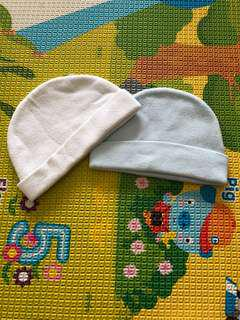 Baby Beanie In White And Pastel Blue 0-6M
