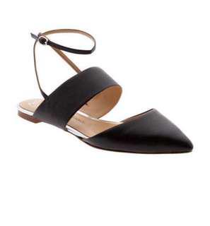 "Banana Republic ""Abilene"" Black Leather Ankle Strap Flats"