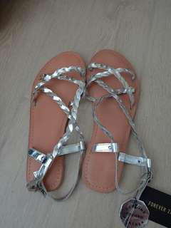 forever21 silver sandals NEW!!
