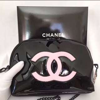 Chanel authentic vip gift sling bag pink logo