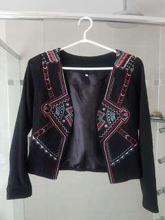 Black cropped blazer/ jacket with tribal embroidery