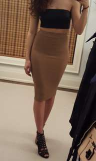 Missguided tan ribbed skirt