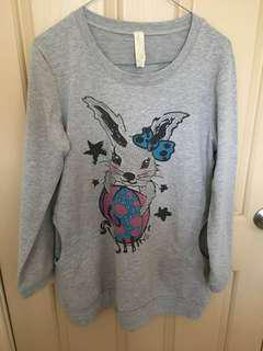 Baggy grey hoodie jumper rabbit pattern